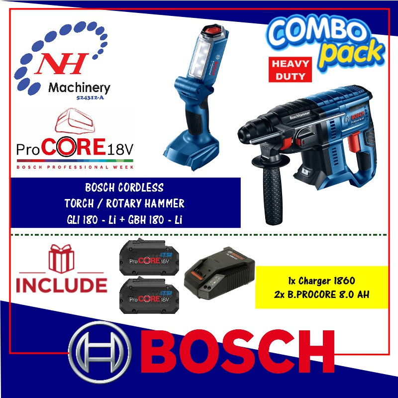 1252b794589 Bosch GBH 18v-26 + GLI 18-Li FREE Battery & Charger (1860/8.0AH) (ProCore)  | Shopee Malaysia