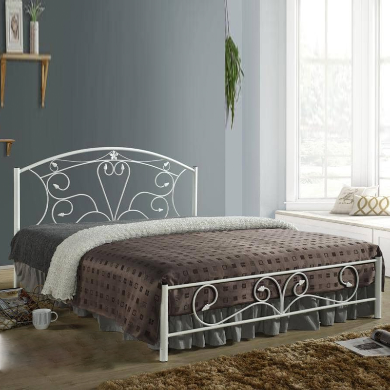Furniture Direct Samanta Queen size metal bed frame-white
