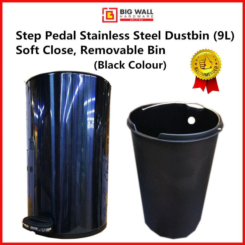 Big Wall Hardware OEM Step Pedal Stainless Steel Dustbin 9L Black/Silver Soft Close Function Removable Bin (Tong Sampah)