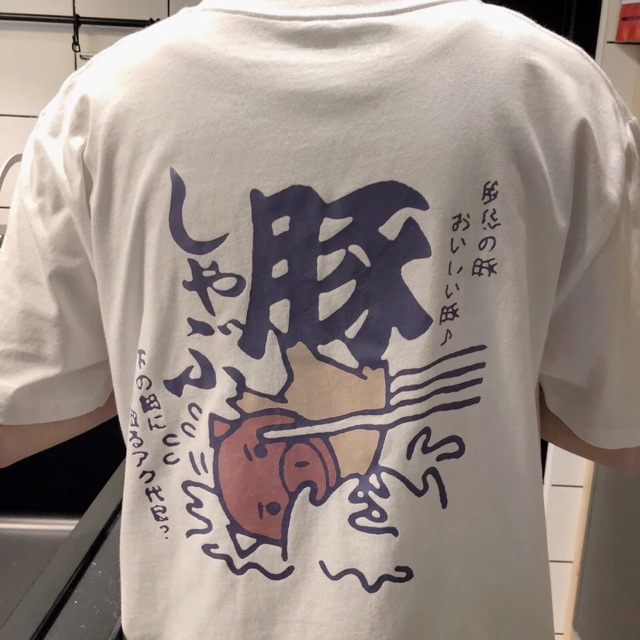 【S~2XL】Men Clothes Japanese Style Short sleeve T Shirt 夏季日系新款圆领宽松背后印花短袖T恤衫男士休闲tee港风潮