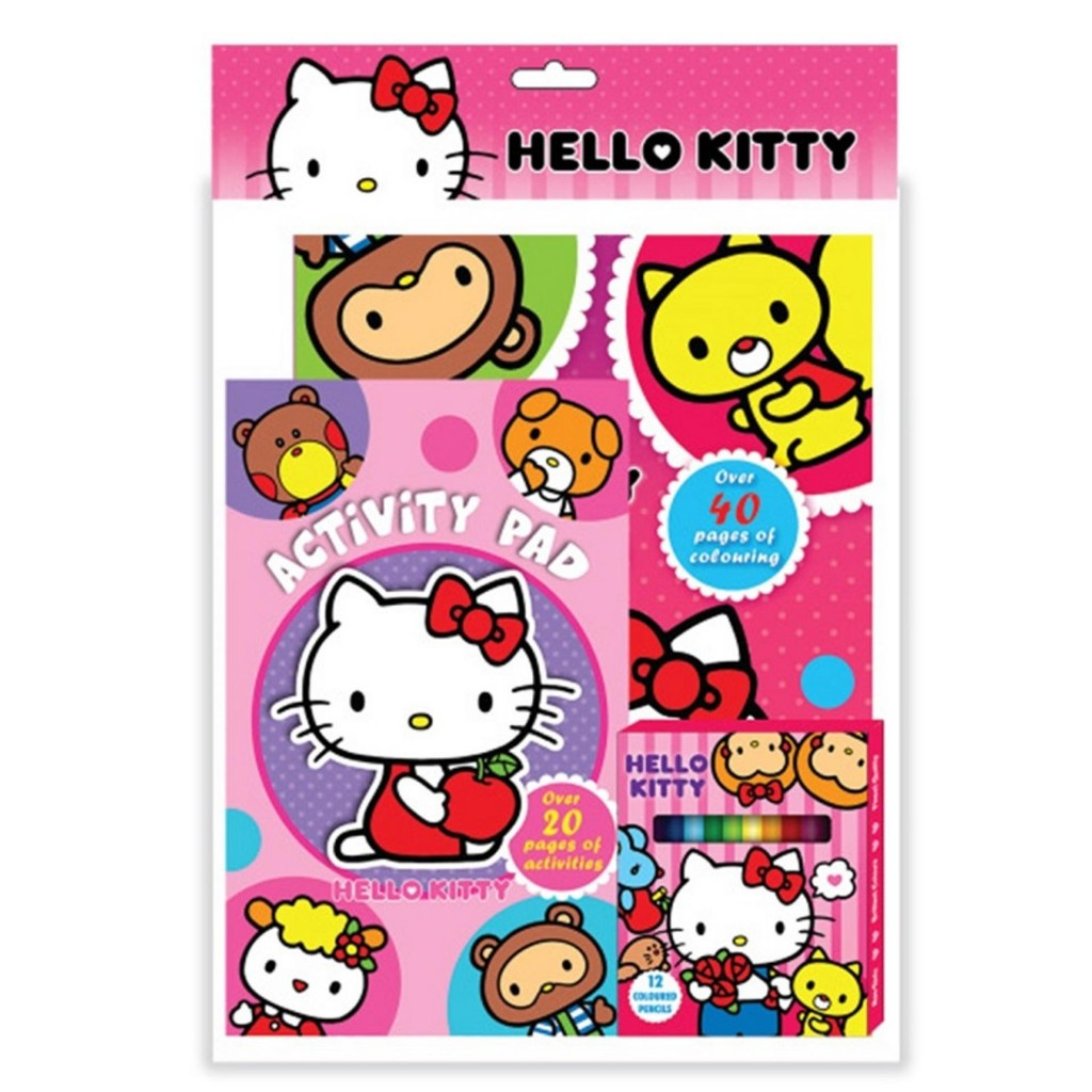 Sanrio Hello Kitty Activity & Colouring Book With Activity Pad, 12pcs Colour Pen