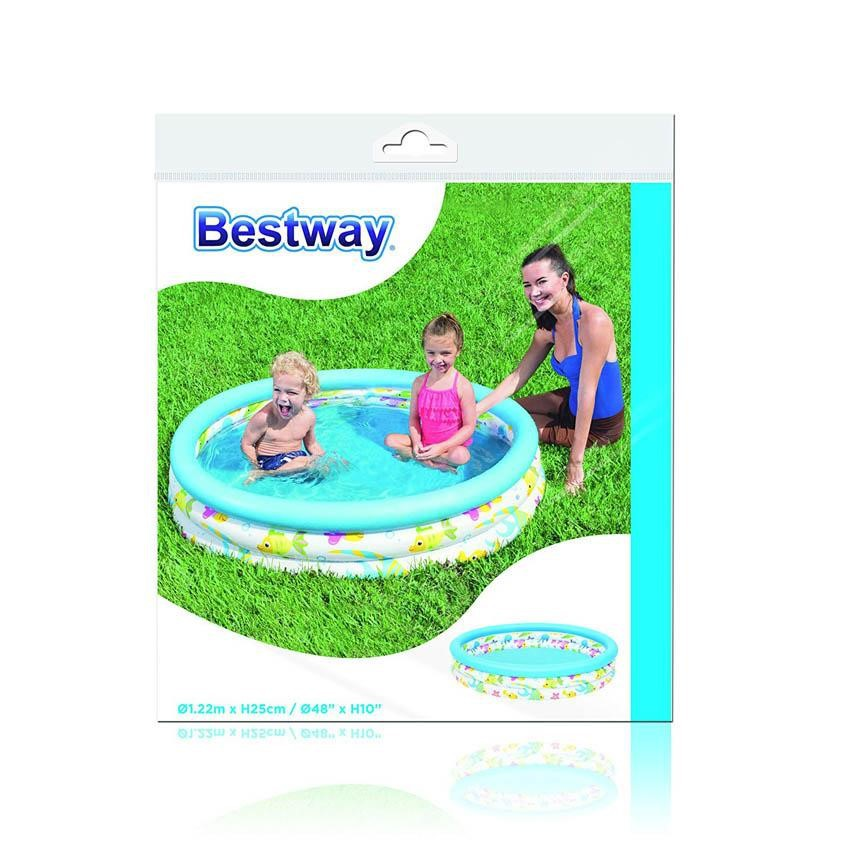 "BESTWAY INFLATABLE DEEP DIVE 3-RING CORAL KIDS AND FAMILY POOL 51009 1.22M x H25CM (48"" x H 10"")"