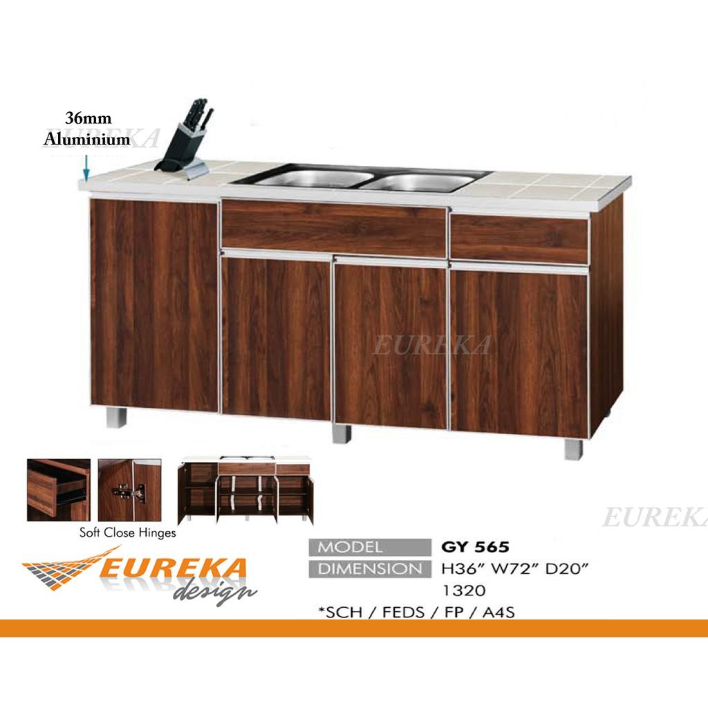 Eureka 6ft Double Basin Kitchen Cabinet Kabinet Dapur Sinki Aluminium Edges Drawer Deliver Installation Klang Valley Shopee Malaysia