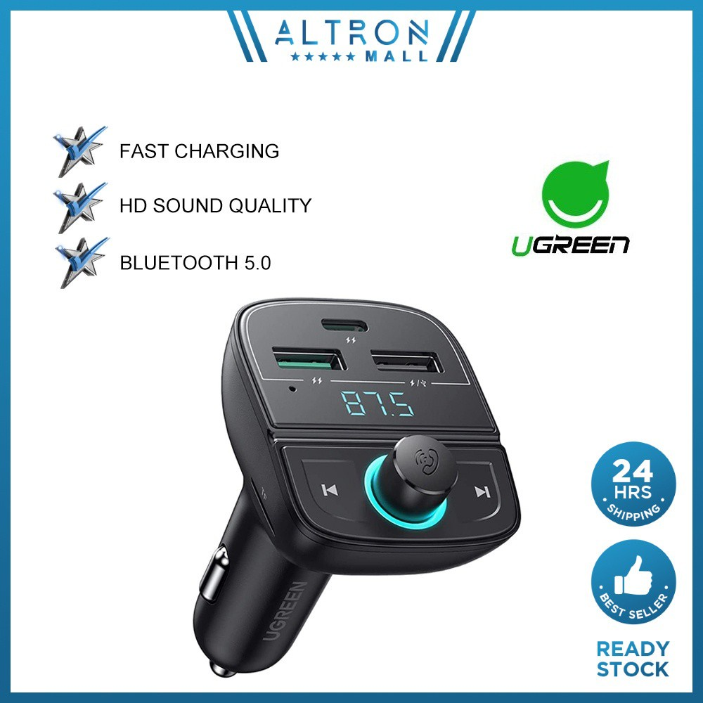 UGREEN Bluetooth Transmitter Car USB C PD 20W Wireless Bluetooth Receiver MP3 Car Charger Hands-Free Calling TF Card