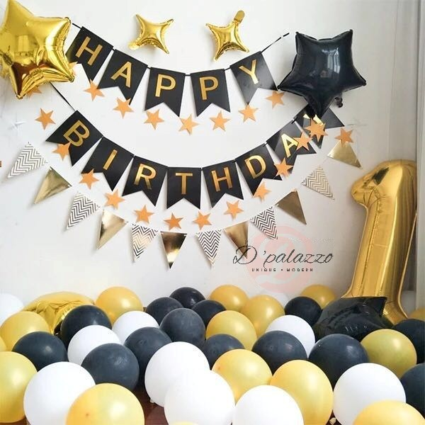 HAPPY BIRTHDAY BLACK AND SILVER PARTY BUNTING