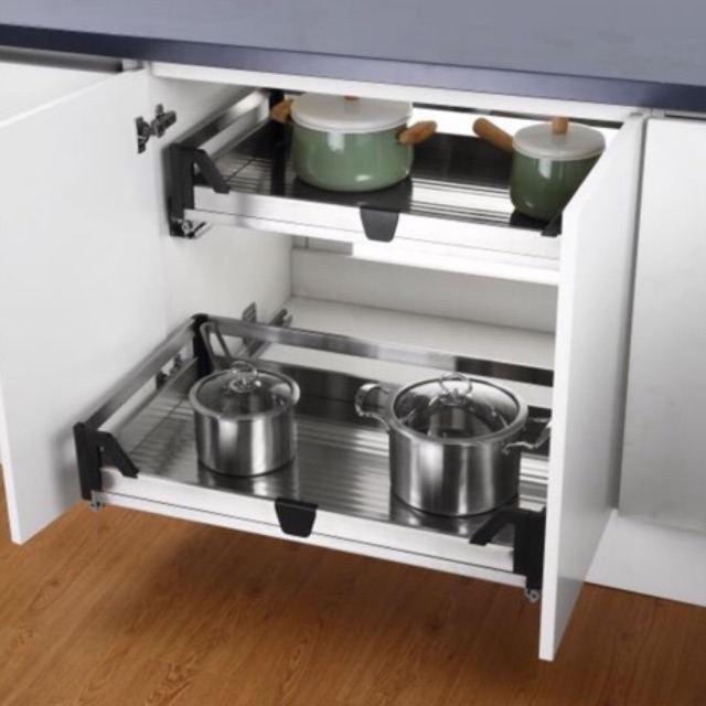 Stainless Steel Kitchen Cabinet Drawer Pull Out Basket With Soft Closing Dapur Shopee Malaysia