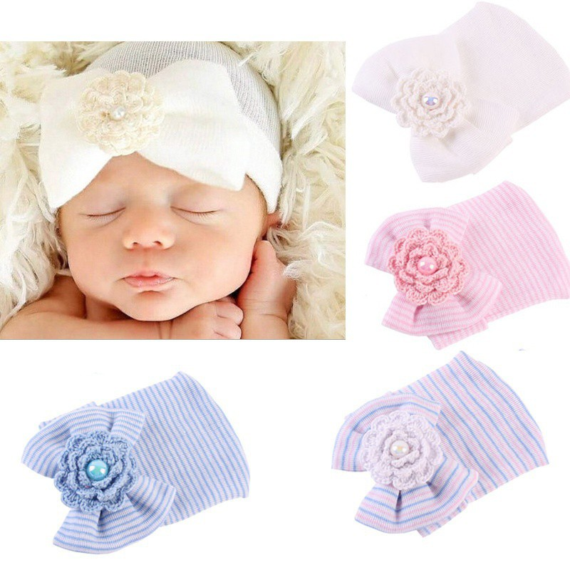 92bfd0434 Newborn Baby Infant Toddler Bowknot Soft Cap Beanie Cute Hat Fashion  Accessories