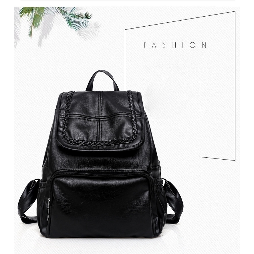 75c4a16420b6 Leather Woven Backpack Bag Men Women Solid Color Multifunctional Backpack