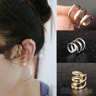 Punk Rock Ear Clip Cuff Wrap Earrings No piercing-Clip On Silver Gold Bronze