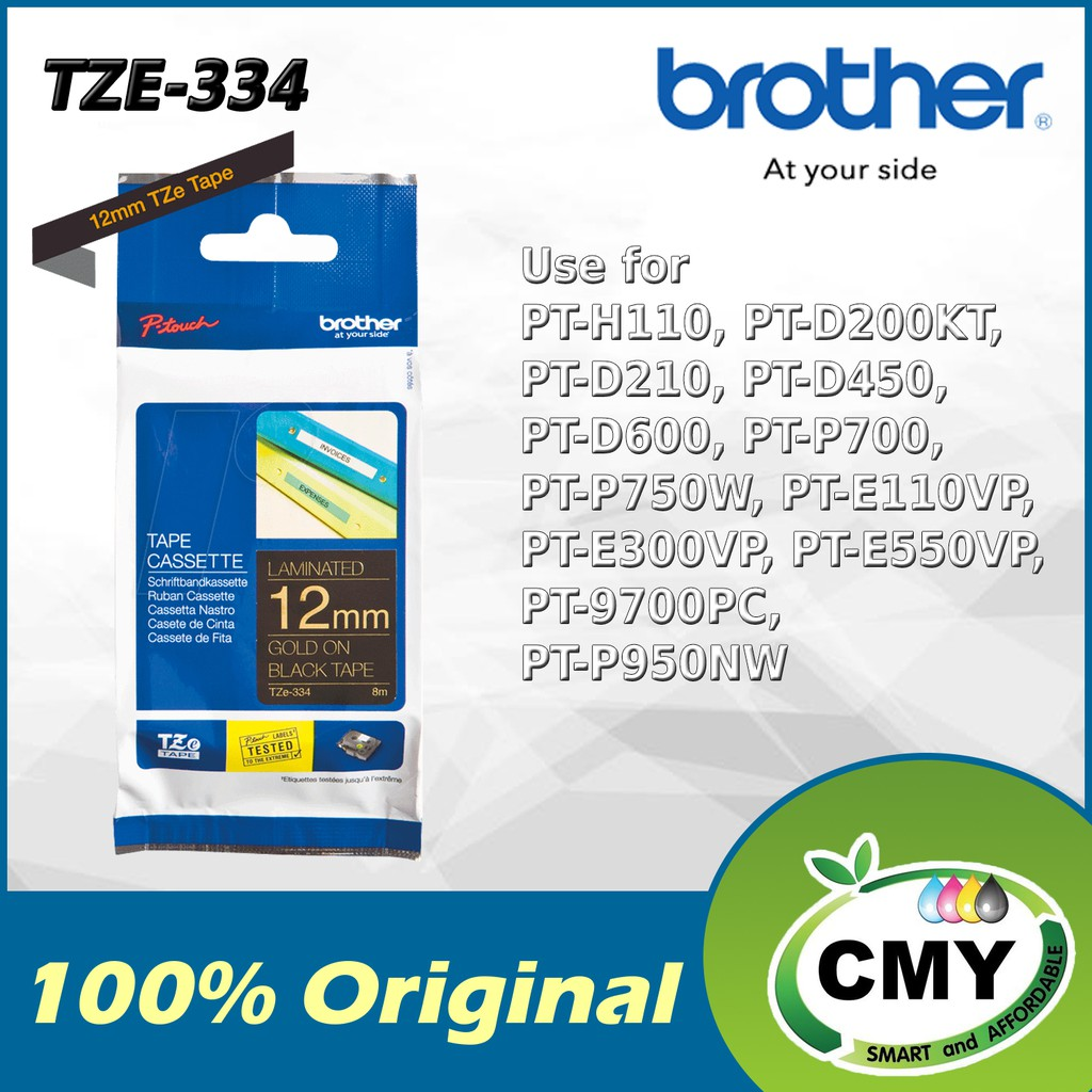 Brother Original TZe-234 12mm Gold on Black D200KT D210 D450 D600 P700