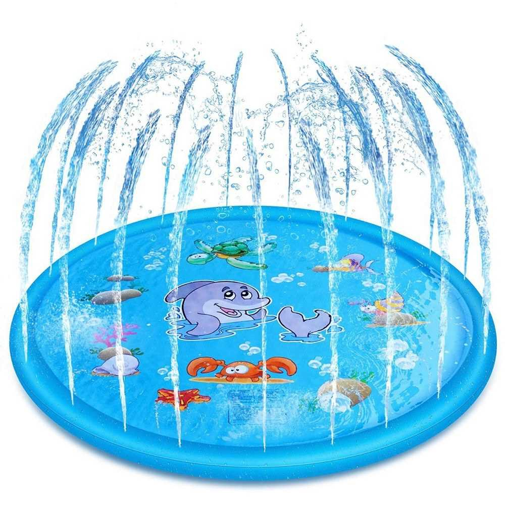 5.6ft  Inflatable Spray Water Pad Outdoor Summer Children's Water Mat Water Spray Mat Lawn Games Pad Sprinkler Play Toy