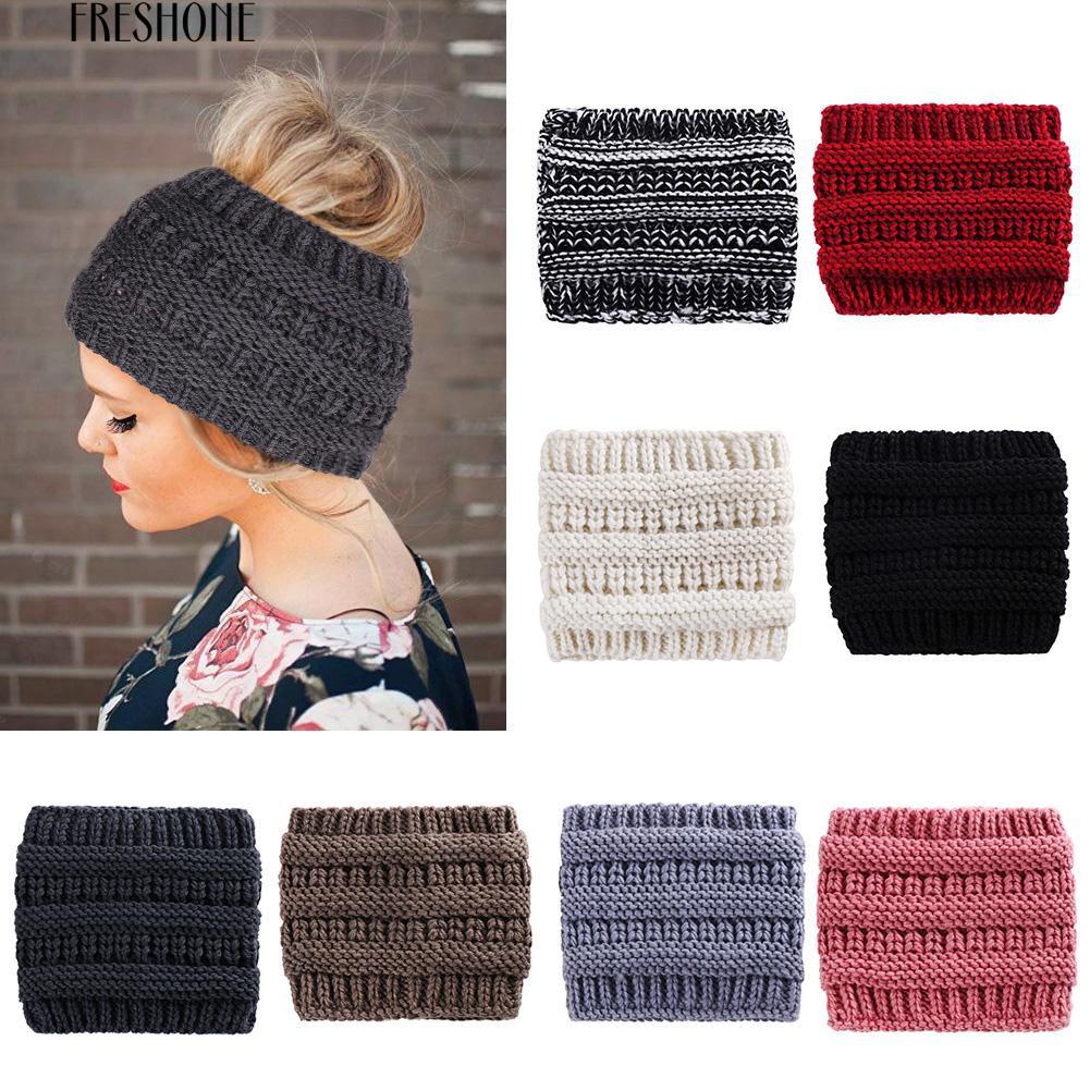 Fresh Fashion Solid Color Women Autumn Winter Ponytail Hair Bun Belt Knitted Cap