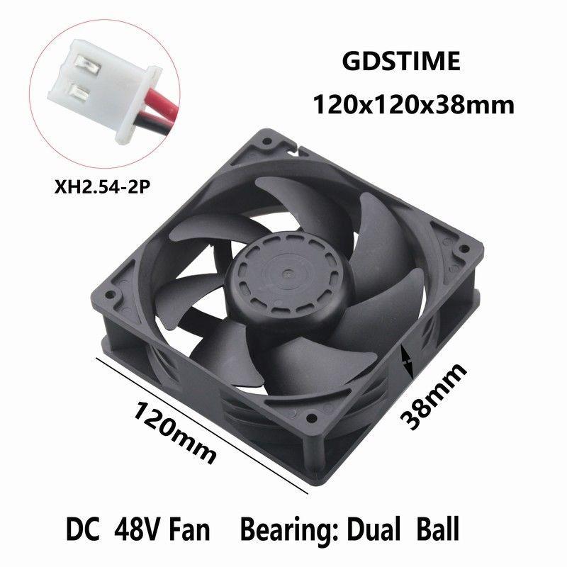 48V Dual Ball 120mm 38mm Cooling Case Fan 120x120x38mm PC CPU Computer 2pin