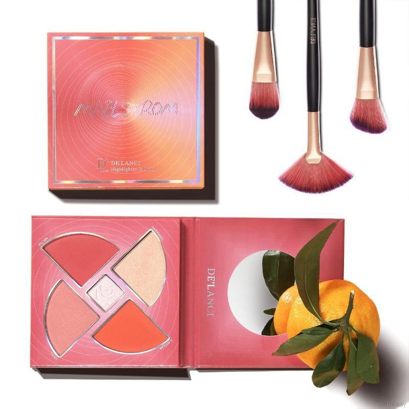 ✨5 Colors Blush Highlighter Palette Face Makeup Kit Shimmer Bronzer Palette