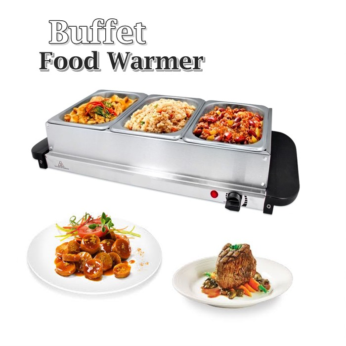 Stainless Steel 3 Tray Buffet Food Warmer