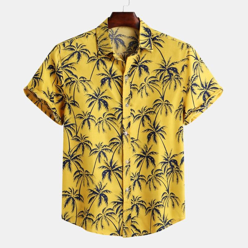Mens Short Sleeve Hawaiian Shirt Summer Style Plam Tree Men Casual Beach Hawaii Shirts Fit Slim Male Blouse Summer Top Floral-XXL
