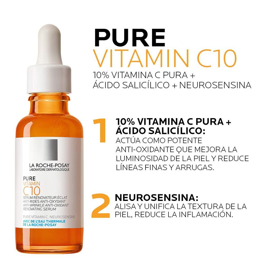 La Roche Posay Pure Vitamin C Face Serum With Hyaluronic Acid Salicylic Acid Anti Aging Face Serum For Wrinkles Shopee Malaysia