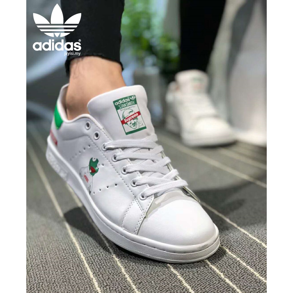 watch ff9ee b4b1d Adidas Stan Smith Supreme Men's Women's shoes white green frog casual  sneakers