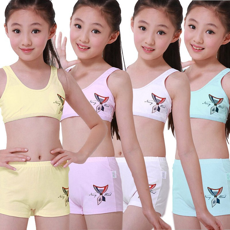 19fdcacad Puberty Young girl student Teenagers cotton underwear set with Training Bra