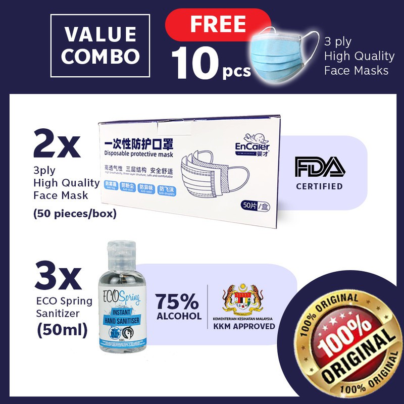 【VALUE DEAL 】3x EcoSpring Hand Sanitizer 50ml + 110Pc 3 lyr Surgical Face Cover