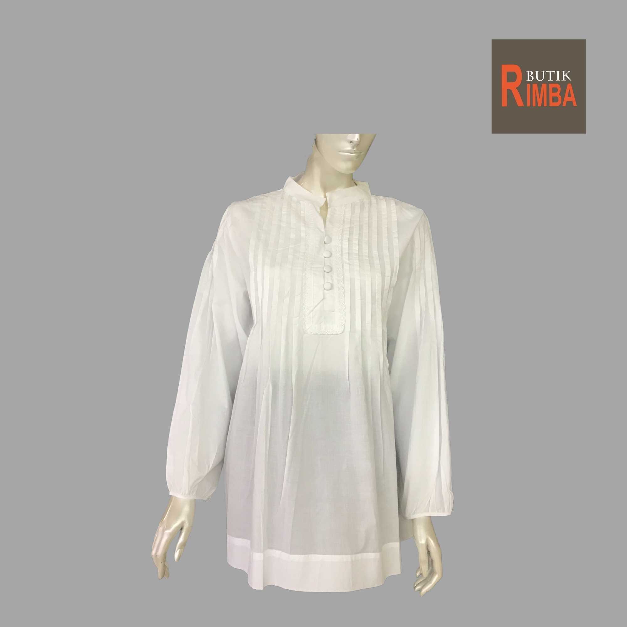 WOMEN CASUAL AND COMFORTABLE WHITE BLOUSE COTTON FREE SIZE PATTERN 18