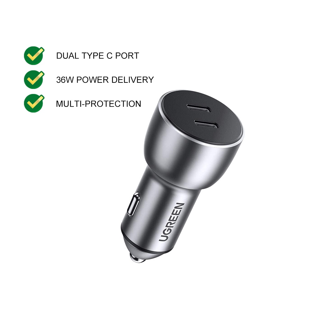 UGREEN Car Charger Dual USB A Type C PD 20W QC 3.0 Quick Charge Super Fast Charging iPhone Samsung Smartphone Mobile