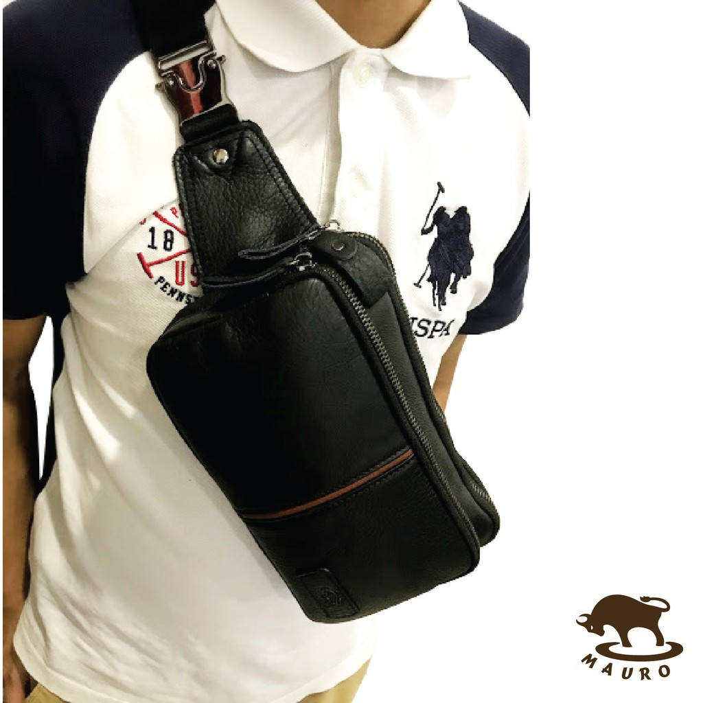 💼 2 in 1 Mauro Men Casual Genuine Leather Crossbody Men Chest Bag & Men Waist Bag