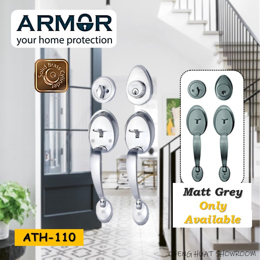 ARMOR Double Entrance Handleset (ATH-100) Solid Brass Cylinder Locks Matt Grey Series