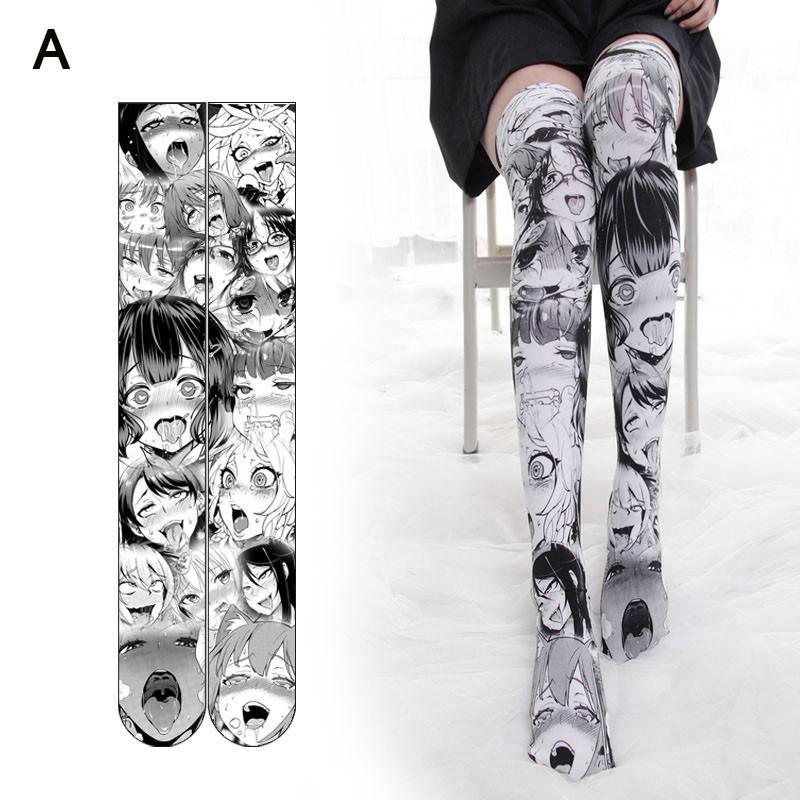 Womens Cosplay Funny Socks Knee High Leggings 3D Mermaid Print Stockings Girls