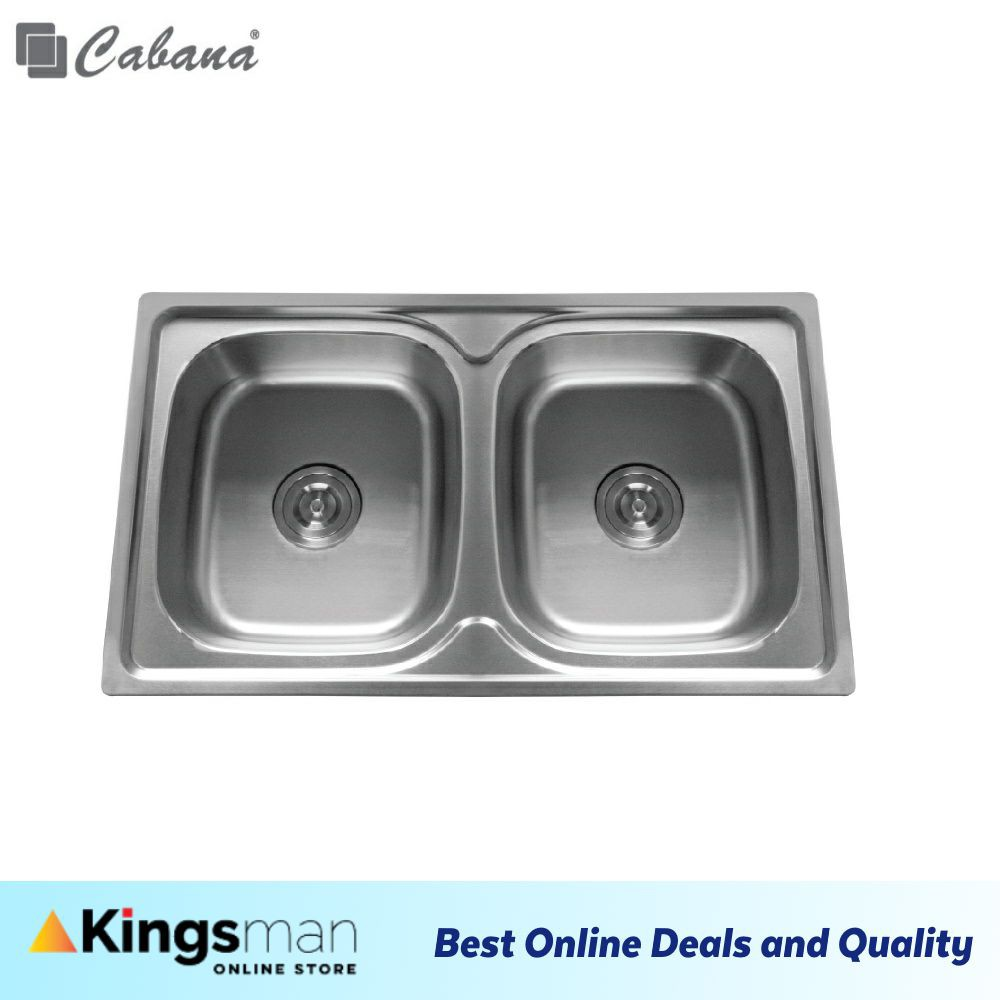 [Kingsman] Top mount Stainless Steel 304 Cabana Home Living Kitchen Sink Double Bowl Ready Stock - CKS8048