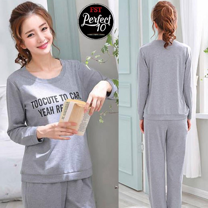 FST Silk Fabric Long Sleeve and Long Pant Grey Yeah Respect Pyjamas / Set Baju Tidur Elegant design [6004]