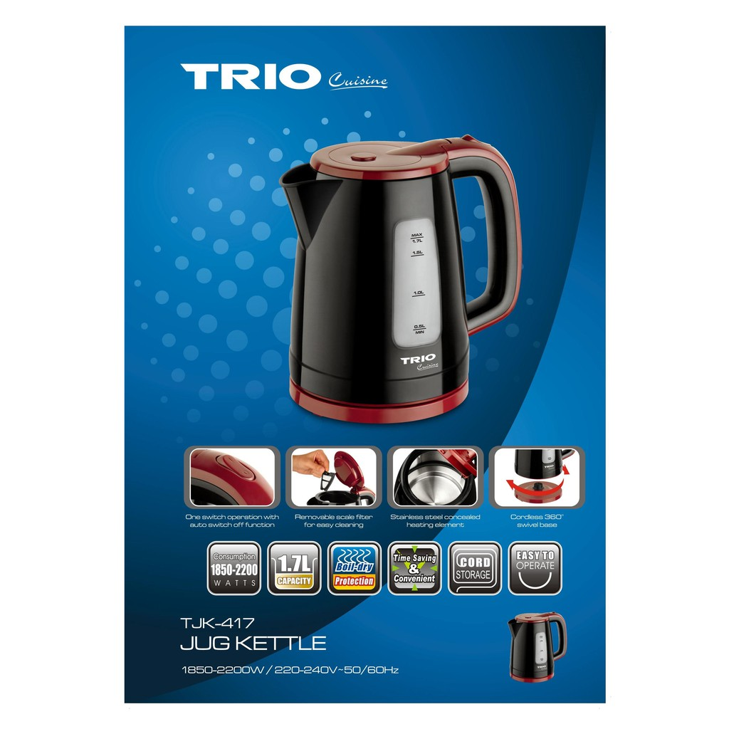 Image result for Trio Stainless Steel Concealed Heating Element Jug Kettle TJK-417
