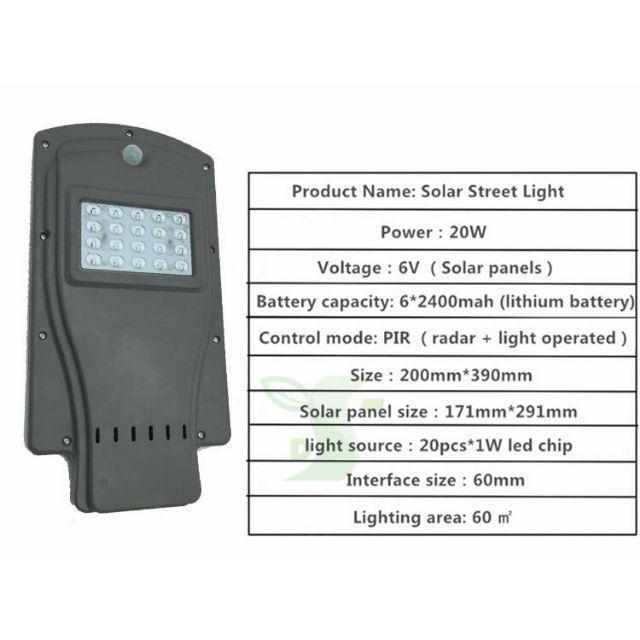 [ READYSTOCK ]  (FREE Pole) Solar 20w 40w 60w Street Light Waterproof IP65 PIR sensor Outdoor Lamp Pelita Lampu
