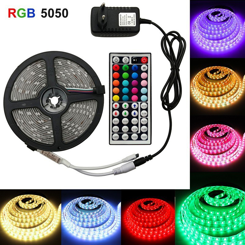 Mylilangelz LED 5050 RGB Colorful Soft Strip Lights with 44-key Remote Control Set 12V High Bright Low Voltage Light