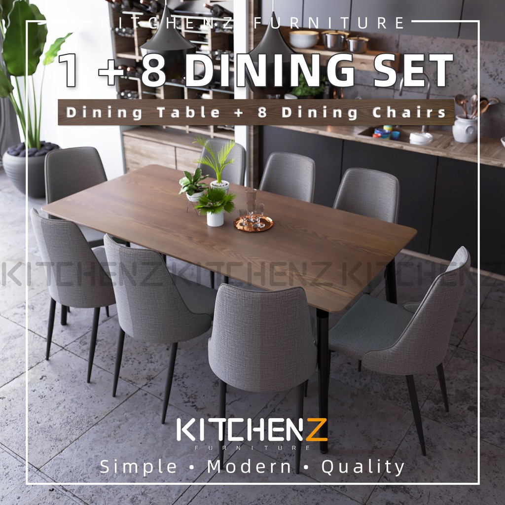 Kitchenz Modern Dining Table Set 1 Table 8 Dining Chairs Hmz Fn Dt T01 18090 Db Shopee Malaysia