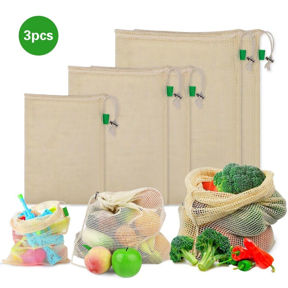 Reusable Cotton Mesh Storage Bag Food Vegetables Fruit Drawstring Shopping Bag