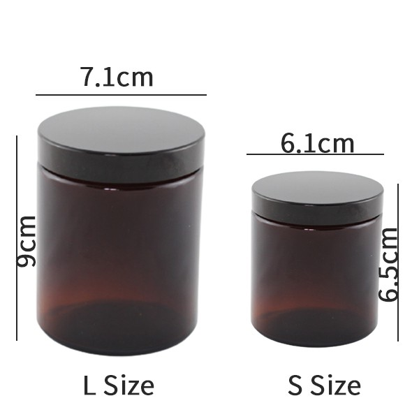 Amber glass jar with plastic black cap/candle making/ Candle DIY/ Candle jar/amber jar/snack container