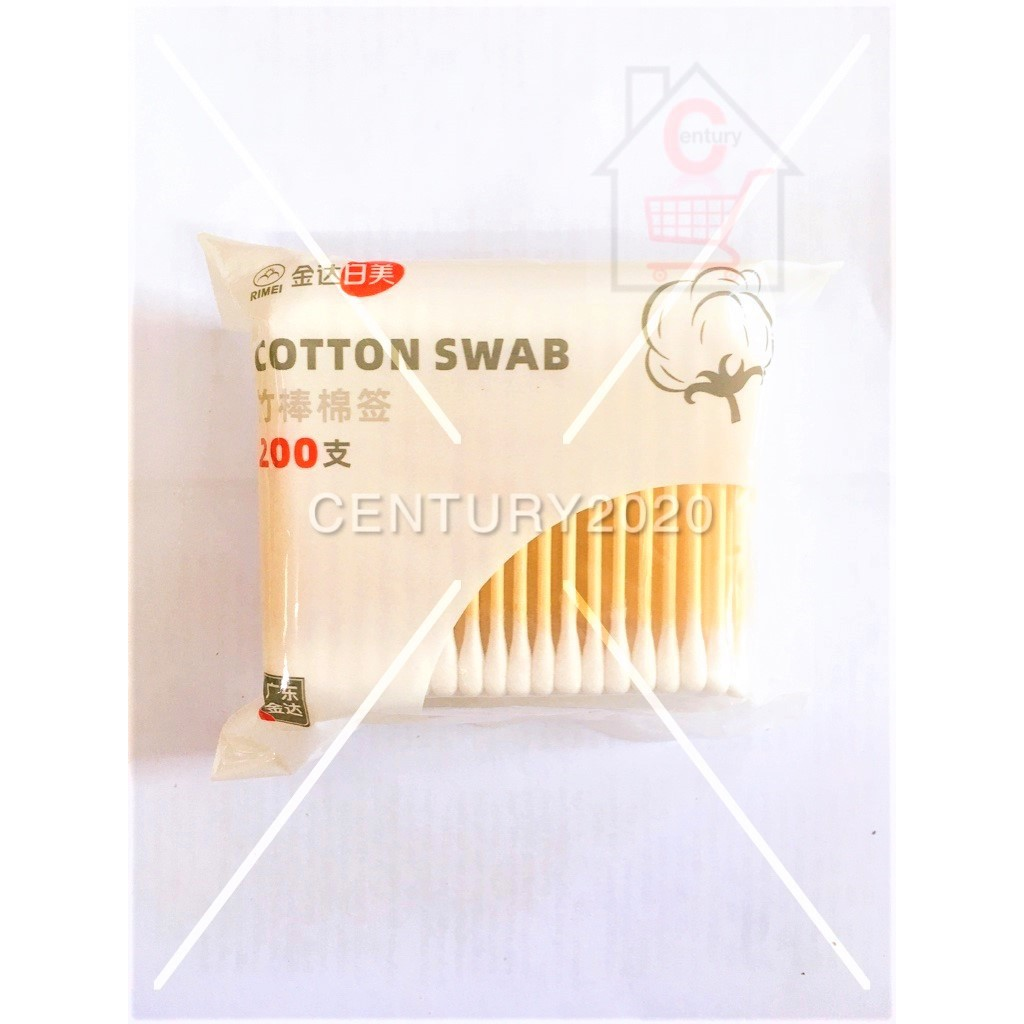 RIMEI Double-headed Cotton Swab Bamboo Cotton Swab Disposable Wooden Cotton Tip Applicator Swabs 200Pcs