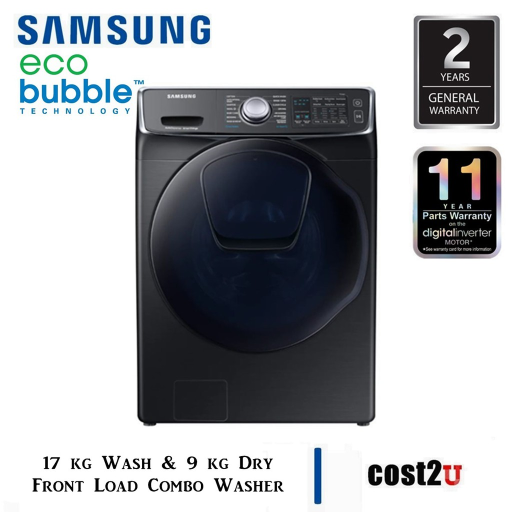 SAMSUNG FRONT LOAD COMBO WASHER WITH ECO BUBBLE 17KG WASH & 9KG DRY | WD17N7550KV/FQ