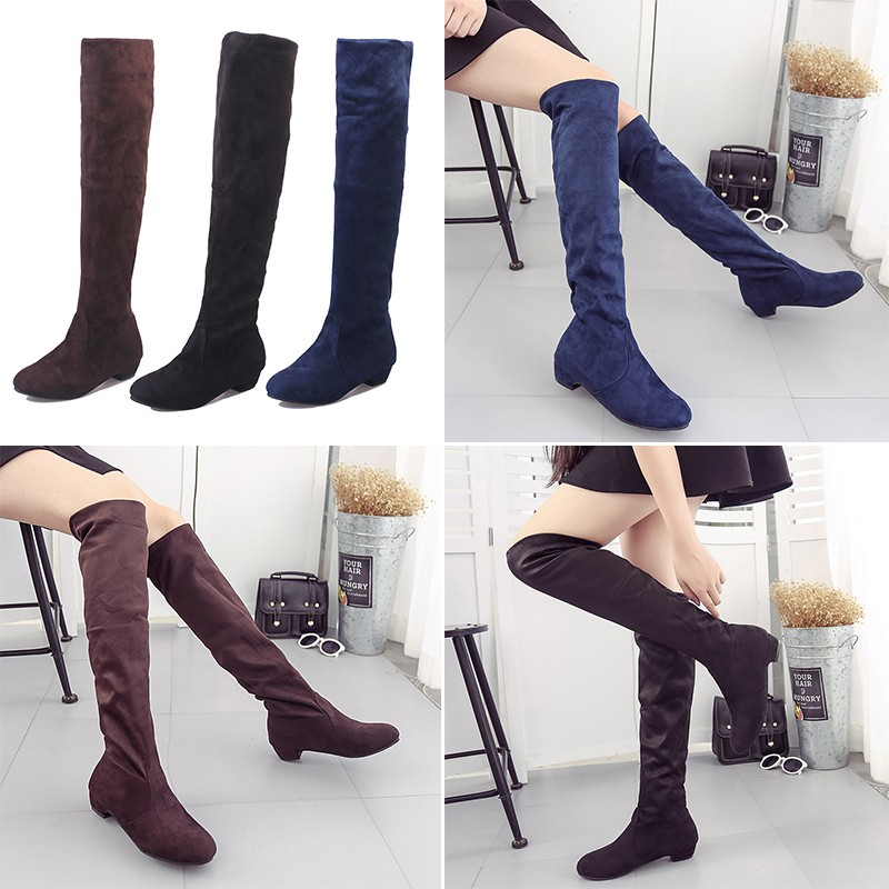 Women Boots Winter Autumn Fashion Flat Shoes Over The Knee High Leg Boots  47f4115e33