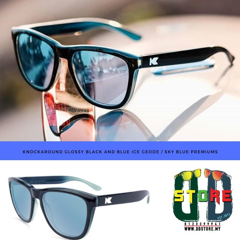 681607908590 KNOCKAROUND GLOSSY BLACK AND BLUE ICE GEODE   SKY BLUE PREMIUMS ...