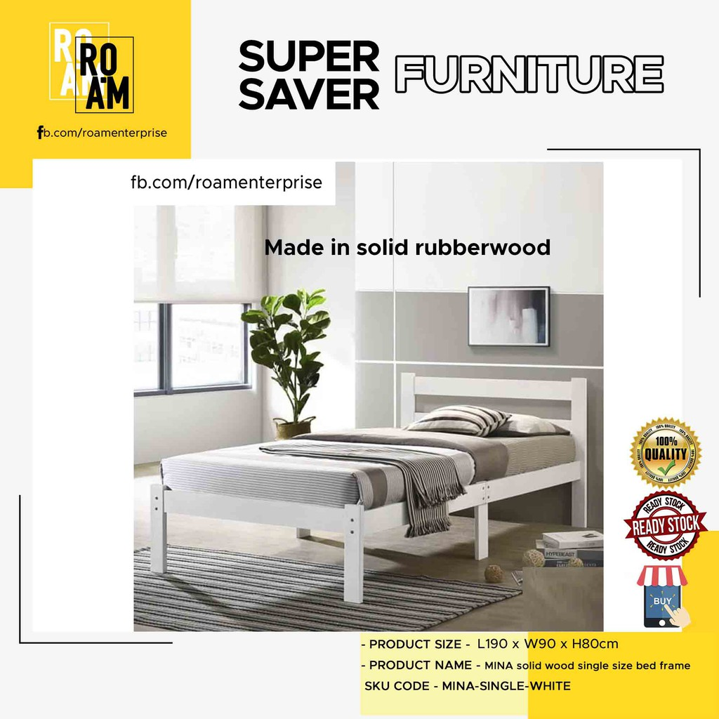 POLAR SB143 Single Size Metal Bed Frame – White and Copper color