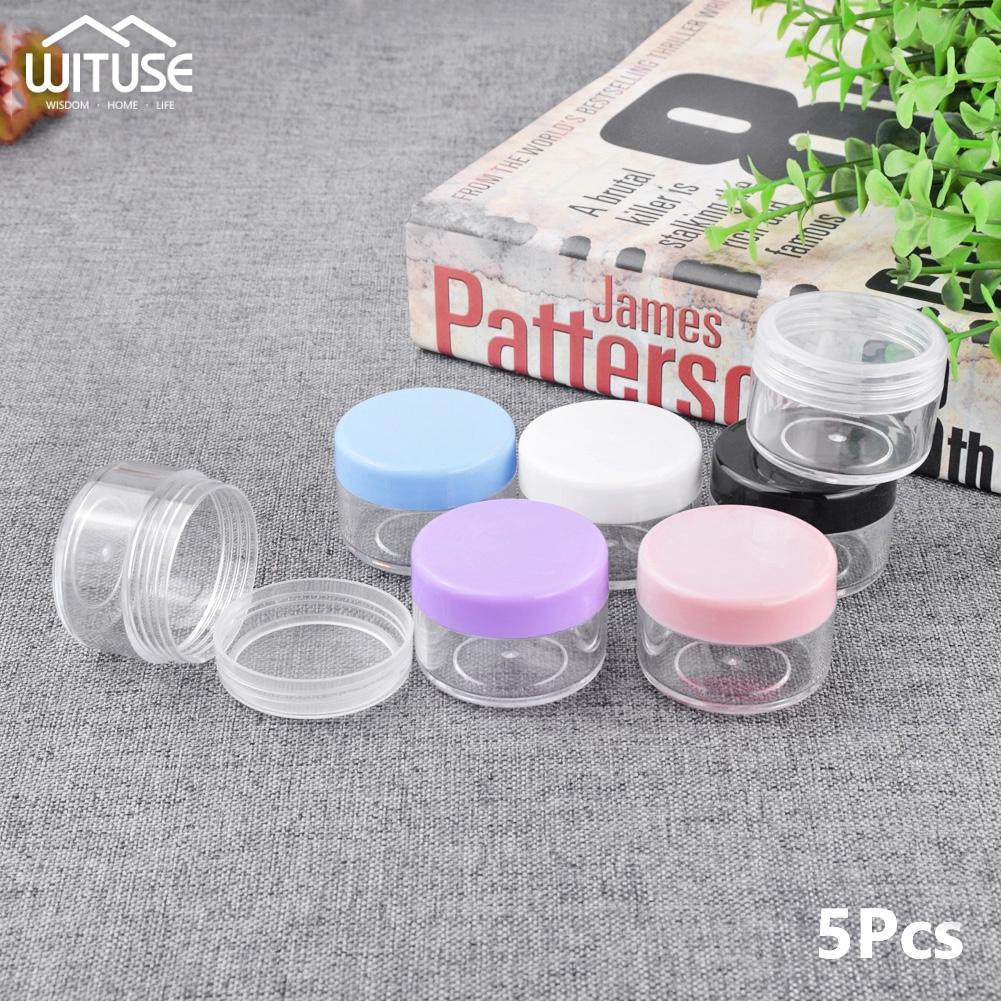 77ddd1c941d4 5pcs Cosmetics Jar Box Makeup Cream Nail Art Bead Storage Pot Container  Round Bottle Portable Plastic Transparent Case
