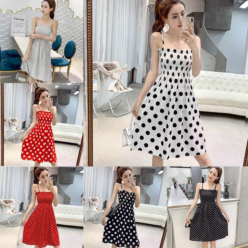 Fashion Women's Dot Print Ruched Sleeveless Chiffon Sling Midi Dress
