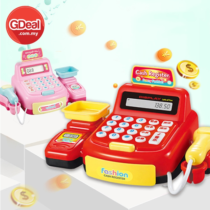 GDeal Pretend Cashier Toy Supermarket Cash Register Machine With Light And Sound Mainan Kanak Kanak ماءينن كانق كانق