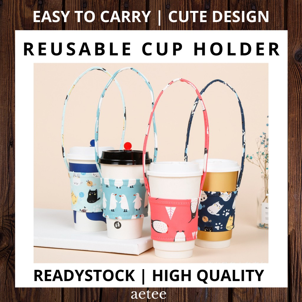 Portable Cup Holder Cat & Penguin Series | Reusable Coffee/ Boba Bubble Milk Tea Drinks Cup Bag Holder [aetee]