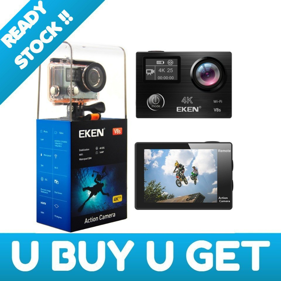 Eken H8r Action Camera New Version H9r F60r V8s 1080p H3r Ultra Hd 4k Bult In Remote Control Cam Shopee Malaysia
