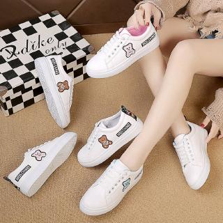 2019 new women bear shoes pu leather white shoes sneakers