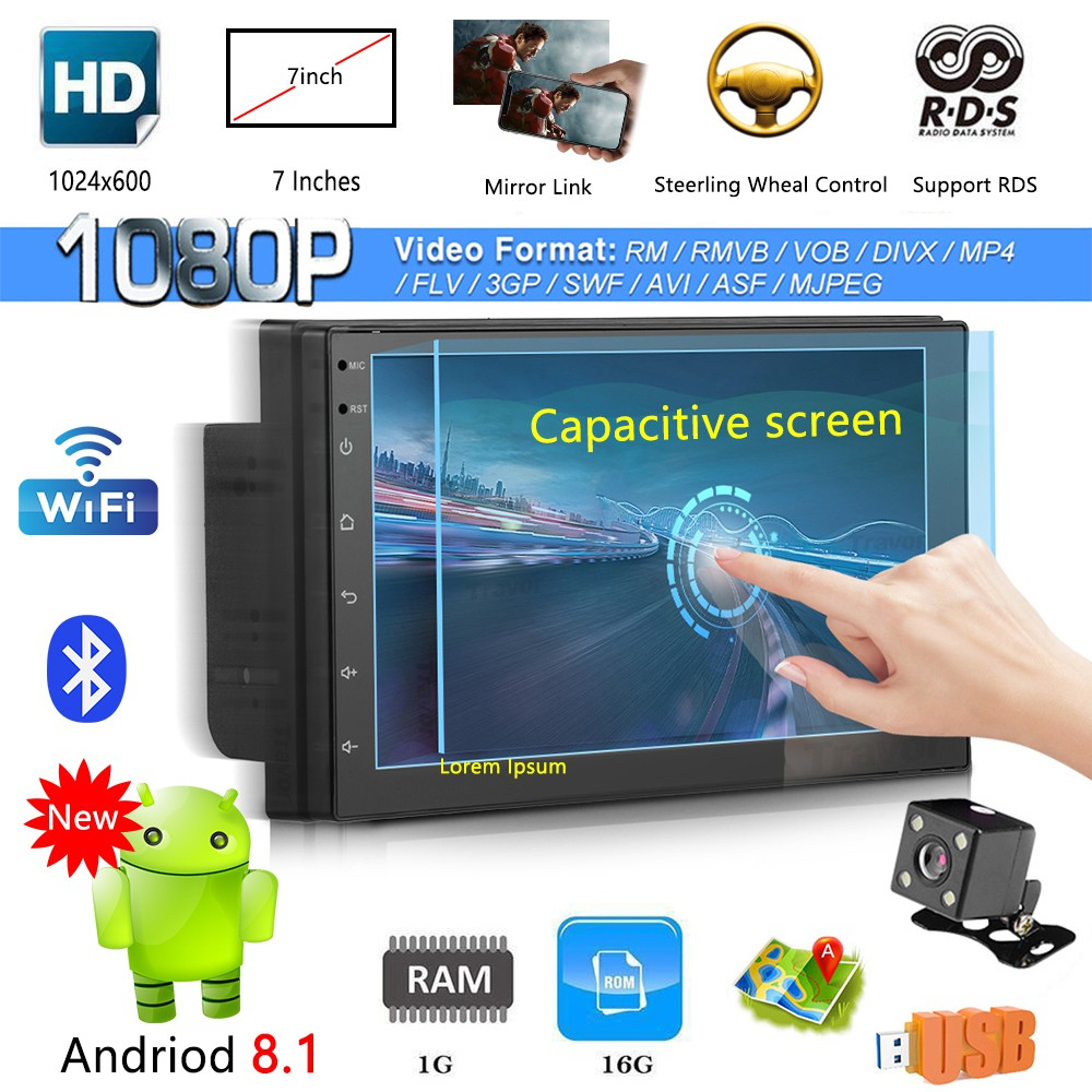 Android 8 1 Double 2 DIN Quad Core GPS Car Stereo MP3 Player FM + Camera