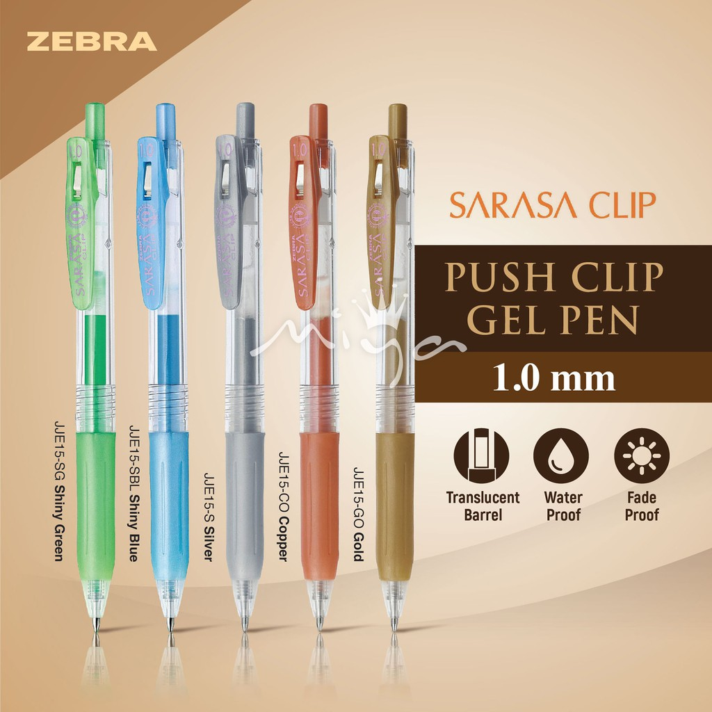 Zebra Sarasa Push Clip Gel Ink Pen 9 Color Set Metallic Colors 1.0 mm